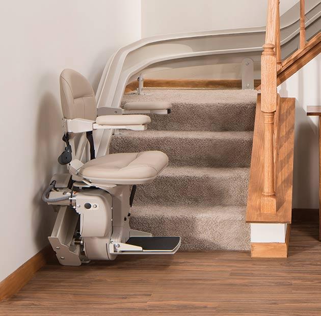 stair lift bruno elite curved indoor bottom of steps